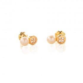 Pendientes  niña Oro amarillo 18K con circonitas y perlas