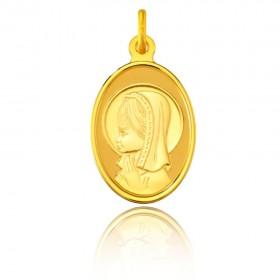 Medalla Oro Primera Ley 18K Virgen niña ovalada