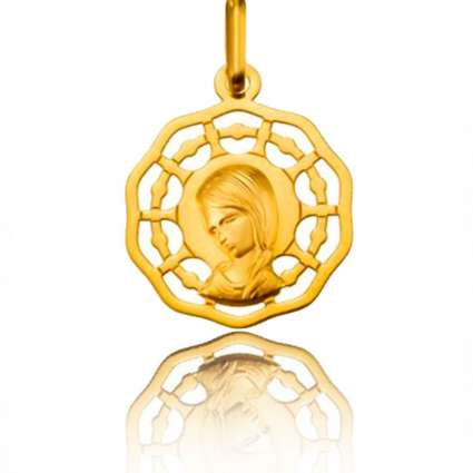 Medalla calada de Oro Primera Ley 18K Virgen niña con trenza