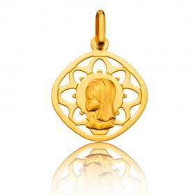 Medalla de Oro Primera Ley 18k Virgen niña con orla