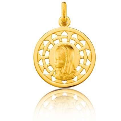 Medalla de Oro Primera Ley 18K con orla Virgen niña