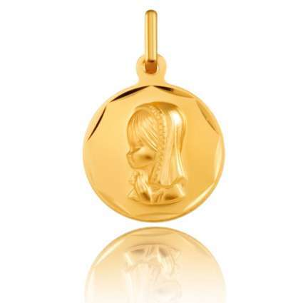 Medalla de Oro Primera Ley 18K  Virgen niña redonda