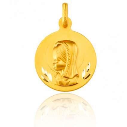 Medalla comunión de Oro Primera Ley 18K  Virgen niña redonda