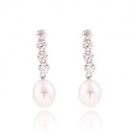 Pendientes de novia Oro Primera Ley 18K con circonitas y perlas