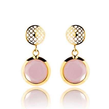Pendientes de mujer redondos Oro Primera Ley 18 k y cuarzo rosa