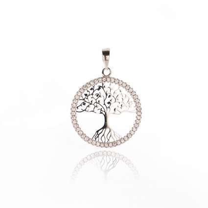 Colgante mujer plata de ley y circonitas árbol de la vida