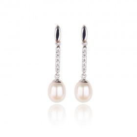 Pendientes de mujer Oro 1ª Ley 18 k blanco con carril de circonitas y perlas