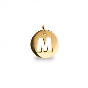 Inicial letra M Oro de Primera Ley 18 K