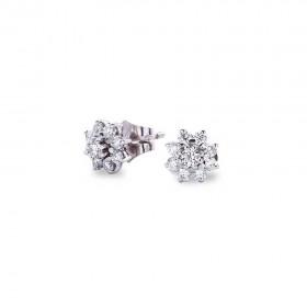 Pendientes 18 Diamantes en Roseta 0.64 Ct Gvs Oro Blanco 1ª Ley 18K