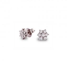 Pendientes 18 Diamantes engastados en Roseta 0.36 Ct Gvs Oro Blanco 1ª Ley 18K
