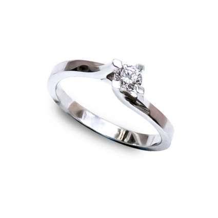 Anillo de compromiso oro 1ª Ley blanco y diamante 0.20 Qts
