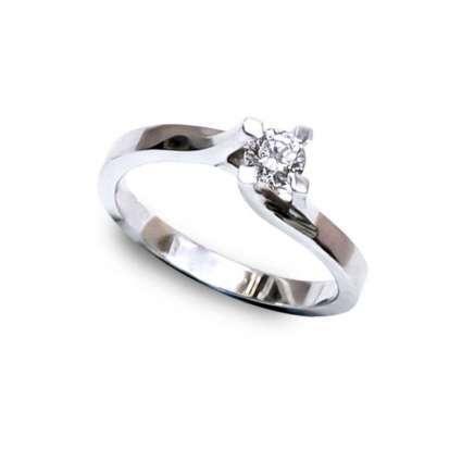 Anillo de compromiso oro 1ª Ley blanco y diamante 0.25 Qts