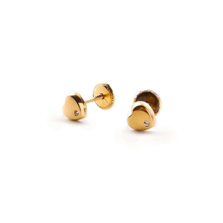 Pendientes de niña oro amarillo 1ª Ley 18K corazón con circonitas
