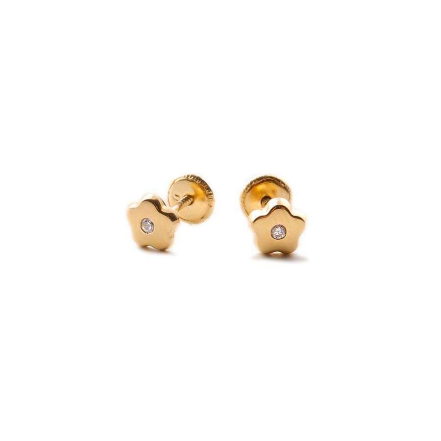Pendientes de niña oro amarillo  1ª Ley 18K flor con circonita central