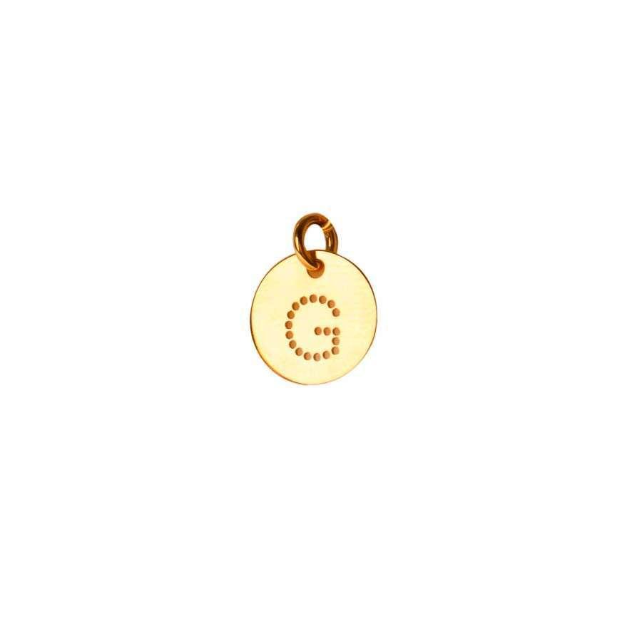 Inicial de oro amarillo de 1ª Ley Grabada Letra G