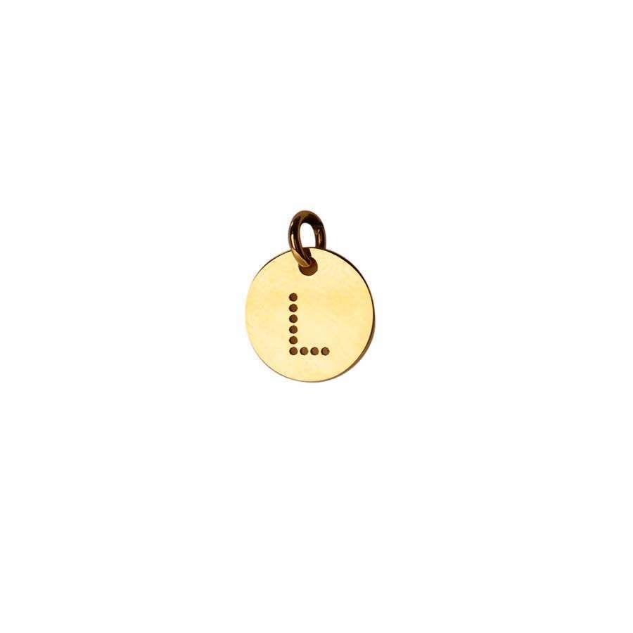 Inicial de oro amarillo de 1ª Ley Grabada Letra L