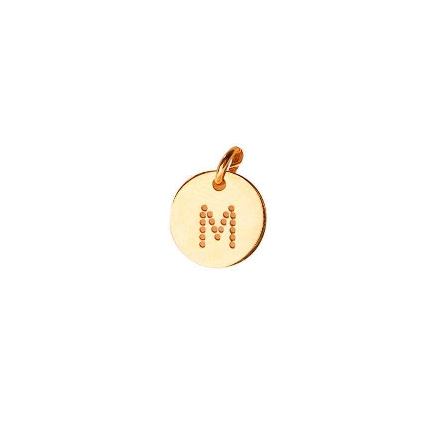 Inicial de oro amarillo de 1ª Ley Grabada Letra M