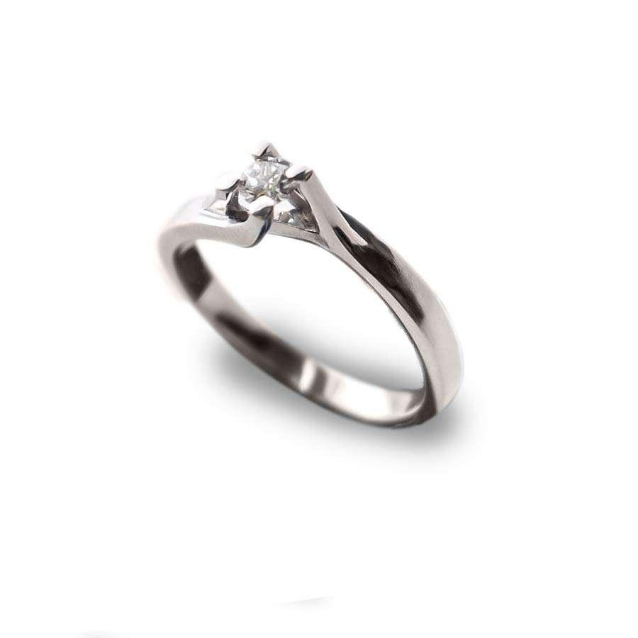 Anillo compromiso oro 1ª Ley blanco y diamante 0.10 qts
