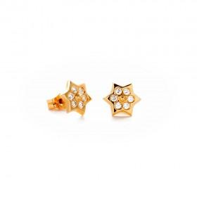 Pendientes mujer oro amarillo 18k estrella y circonitas