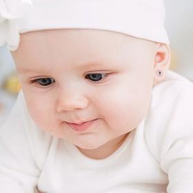 Pendientes  bebé Oro blanco 18k estrella