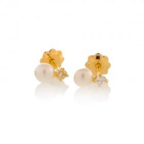 Pendientes de niña Oro 18k con circonitas engastadas en garras y perlas