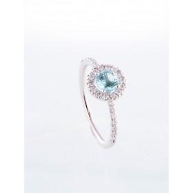 Anillo oro blanco de primera ley 18k con diamantes y aguamarina