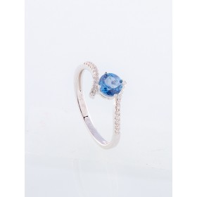 Anillo oro blanco de primera ley 18k con diamantes topacio azul London blue